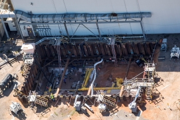 Workers excavated an area at the Savannah River Site to reveal existing transfer lines to be modified for placing the new Salt Waste Processing Facility into operations.