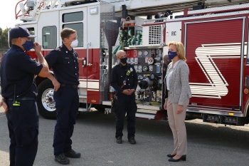 NNSA Administrator Lisa E. Gordon-Hagerty talks to first responders at Lawrence Livermore National Laboratory. During her visit, she helped break ground on a new Emergency Operations Center at the Lab.