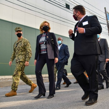 A leader from the the Kenneth A. Kesselring Site leads NNSA Administrator Lisa E. Gordon-Hagerty, Adm. James F. Caldwell, Jr., and Naval Reactors personnel on a walking tour of the site.