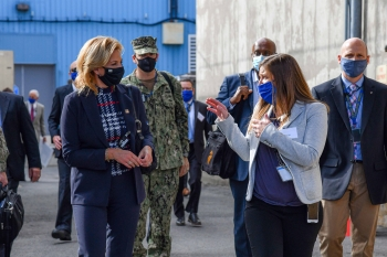 Personnel from the Knolls Atomic Power Laboratory speak with NNSA Administrator Lisa E. Gordon-Hagerty during a tour of the site.