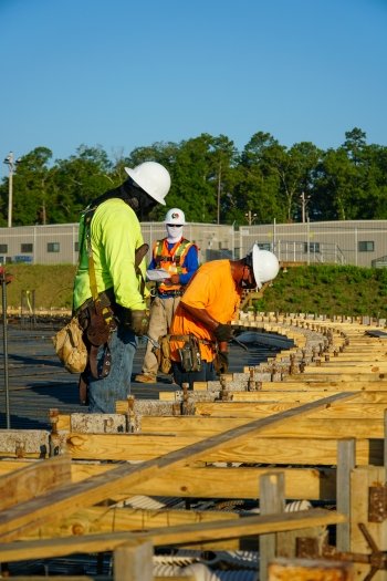 Savannah River Remediation subcontractor employees set rebar in preparation for the foundation slab at Saltstone Disposal Unit 8.
