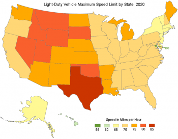 Map of the U.S. showing light-duty vehicle maximum speed limit by state in 2020. Texas has the highest at 85 MPH.