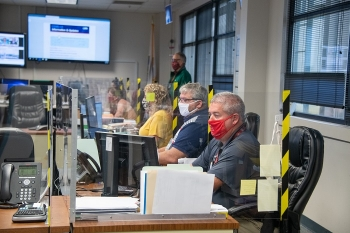 Members of the Savannah River Site (SRS) Infectious Disease Response Team, a branch of the SRS Emergency Response Organization, manage the site's daily COVID-19 pandemic response efforts from the SRS Alternate Emergency Operations Center.