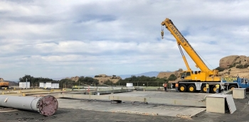 The site of Building 4022 after workers knocked down the structure at the Radioactive Materials Handling Facility at the Energy Technology Engineering Center.