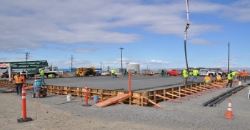 A concrete pad that will be the future interim storage area for 1,936 highly radioactive capsules of cesium and strontium is now in place at the Hanford Site.