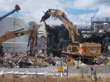 Workers at the West Valley Demonstration Project (WVDP) demolished a nearly 7,000-square-foot utility building, shown here, earlier this year.