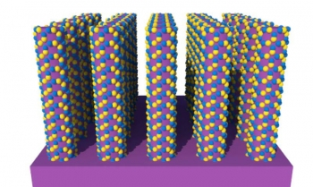Layers of zinc and oxygen atoms (in yellow and blue) are deposited onto the surfaces of nanowires of molybdenum disulfide (in purple). These atoms grow into arrays of semiconductor crystals at sites of defects on the surfaces.