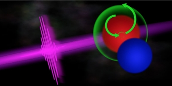 An ultrafast X-ray pulse (magenta) excites a burst of activity (green) at the oxygen site (red) of a nitric oxide molecule. The green arrows represent the excitation and motion of electrons within the molecule.