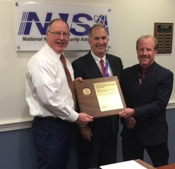 NNSA achieved Technical Qualification Program Accreditation in 2020. From left, NNSA's James McConnell; Matthew Moury, DOE Associate Under Secretary for Environment, Health, Safety and Security; and Jeffry Roberson, Senior Technical Adviser.