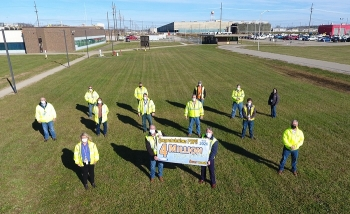Fluor-BWXT Portsmouth employees celebrate their achievement of 4 million safe work hours at the Portsmouth Site.
