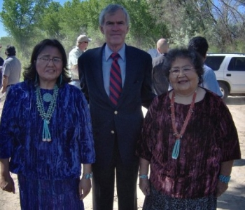 Bernadette Tsosie (left) attended the 2009 Navajo and New Mexico San Juan Basin Water Rights Settlement celebration with Sen. Jeff Bingaman (D-NM) (center) and her mother (right).