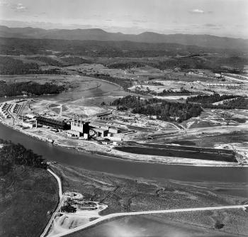 A 1949 photo shows the former K-770 Powerhouse and oil tank farm.