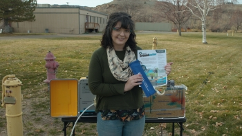 "In the ""Go With the Flow"" video presented during the Dec. 7 STEM-sation event, Allison Reynolds, a hyrdogeochemist with the LM Strategic Partner, explains how groundwater at LM's Shiprock, New Mexico, Disposal Site is affected by simulated contamination."