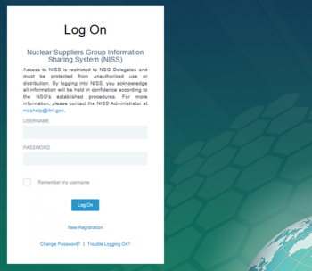 The login screen for the Nuclear Supplier's Group Information Sharing System, the group's secure intranet and document repository.