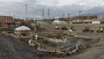 Workers continued construction on the Outfall 200 Mercury Treatment Facility in 2020.