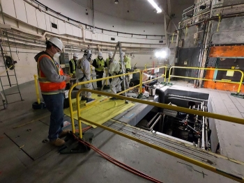 Crews from the U.S. Army Corp Engineers perform pre-demolition activities at the Livermore Pool Type Reactor at Lawrence Livermore National Laboratory.