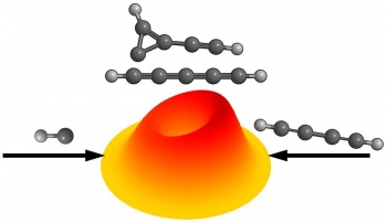 Center-of-mass velocity flux contour map for the reaction of molecular beans to prepare two types of carbene.