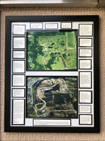 A photo collage depicting the Fernald Preserve, Ohio, Site prior to environmental remediation and after environmental remediation.