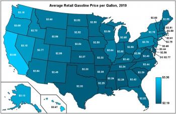 Map of U.S. showing average retail gasoline price per gallon in 2019