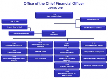 Organization chart for the Office of the Chief Financial Officer, as of January 2021
