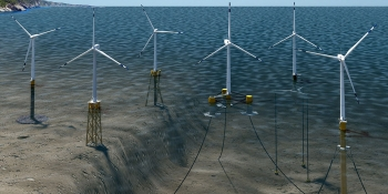 An illustration of offshore wind turbines in the ocean.