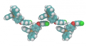 Simulation of a fluorinated salt demonstrating cation alignment. Addition of electronegative fluorine atoms (green) leads to alignment with electropositive phosphorous centers (orange) in the solid phase causing interactions that lower the melting point.
