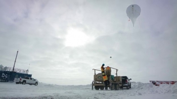 DOE atmospheric scientists regularly fly tethered balloons out of Oliktok Point, the northernmost point of Alaska's Prudhoe Bay.