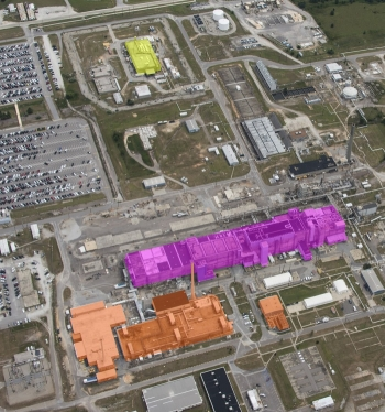 An aerial view of F Area at the Savannah River Site. Building 235-F is highlighted in yellow, F/H Analytical Laboratory facilities are highlighted in orange, and F Canyon/FB Line are shown in purple.