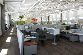 A large office space in a commercial building, showing lots of cubicles.