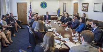 Secretary Perry meets with millennials as part of Nuclear Science Week.