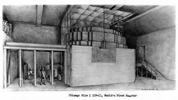 Drawing that depicts Chicago Pile 1, the world's first reactor with a man pulling a control rod out of a reactor as another man in the background monitors.