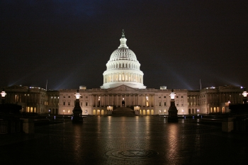 The East front of the U.S. Capitol Lit at Night
