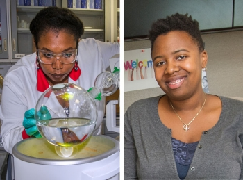 Graduate students Jasmine Hatcher (left) and Trishelle Copeland-Johnson (right) both launched their research careers at national laboratories through DOE's Community College Internships (CCI) Program.