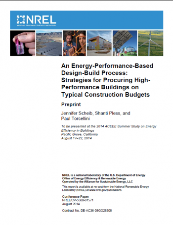 Image of the cover of the Strategies for Procuring High-Performance Buildings on Typical Construction Budgets report.