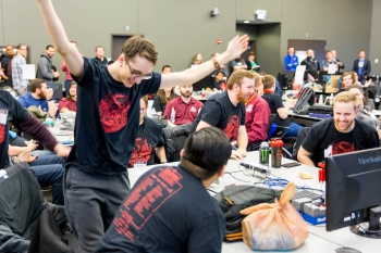 Members of the Lewis University (Romeoville, Ill.) team celebrate their win at the 2018 DOE Cyber Defense Competition.