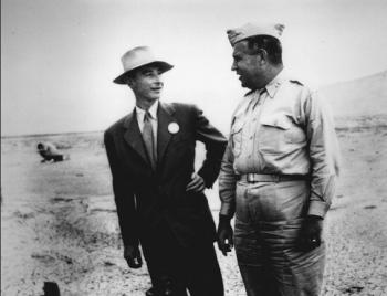 Oppenheimer and Groves at Ground Zero (September 1945)