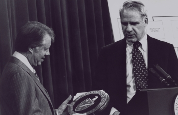 President Carter Inspects the New Department of Energy Seal