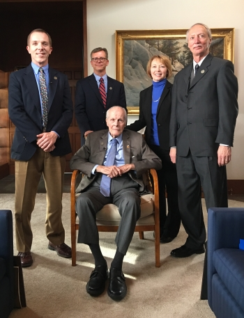 Left to right: Colin Colverson, Oak Ridge Site Representative and Office of General Counsel; Padraic Benson, LM Historian; Tracy Atkins, LM Principal Representative for MAPR; Thomas Pauling, LM Acting Director.  Seated: Bill Coors.