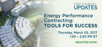Aerial photo of a building campus with the text reading Energy Performance Contracting: Tools for Success, Thursday, March 02, 2017.