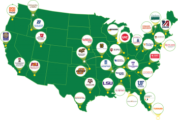 Green U.S. Map showing Industrial Assessment Centers