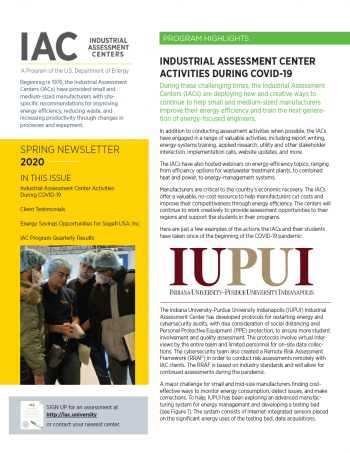 The cover of the Spring IAC newsletter