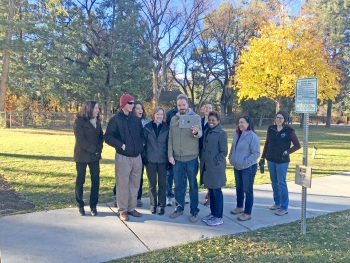 LM staff join a demonstration of a new app that supports interpretation of the Manhattan National Historical Park in Los Alamos.