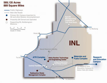 Map of INL, 569,135 acres, 889 square miles, with public highways and primary campus borders marked, as well as what's EM owned and operated, and supporting INL multiprogram missions.