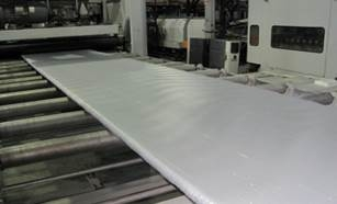 ISTN extruded polystyrene (XPS) board produced in factory demonstration.