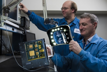 Los Alamos National Laboratory researchers work on Low-Cost, Radiation-Hardened Single-Board Computer for command and data handling. The technology won an R&D 100 award in 2018.