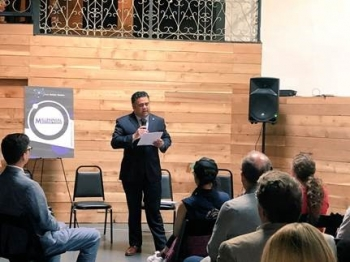 Directory Campos delivers a speech at the Millennial Nuclear Caucus