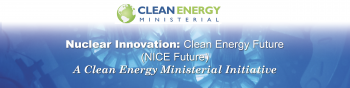 Nuclear Innovation: Clean Energy Future text with a blue background