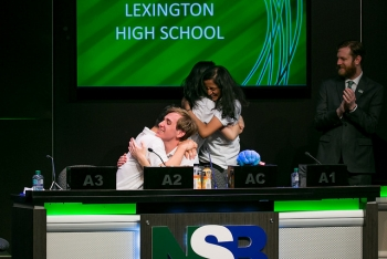 Lexington High School's Snigdha Allaparthi, Ben Choi, Derik Kauffman and Anka Hu of Lexington, Mass., celebrate winning the final round of the high school competition at the 2018 National Science Bowl®.