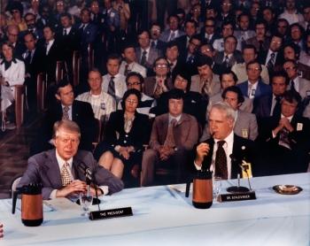 President Carter and Secretary Schlesinger at Oak Ridge National Lab