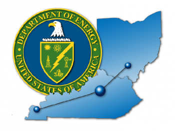 The logo of the Portsmouth/Paducah Project Office shows the location of the PPPO Manager's Office in Lexington in relation to the Portsmouth, Ohio and Paducah, Kentucky gaseous diffusion plants whose cleanup it oversees, shown along with the DOE Seal.